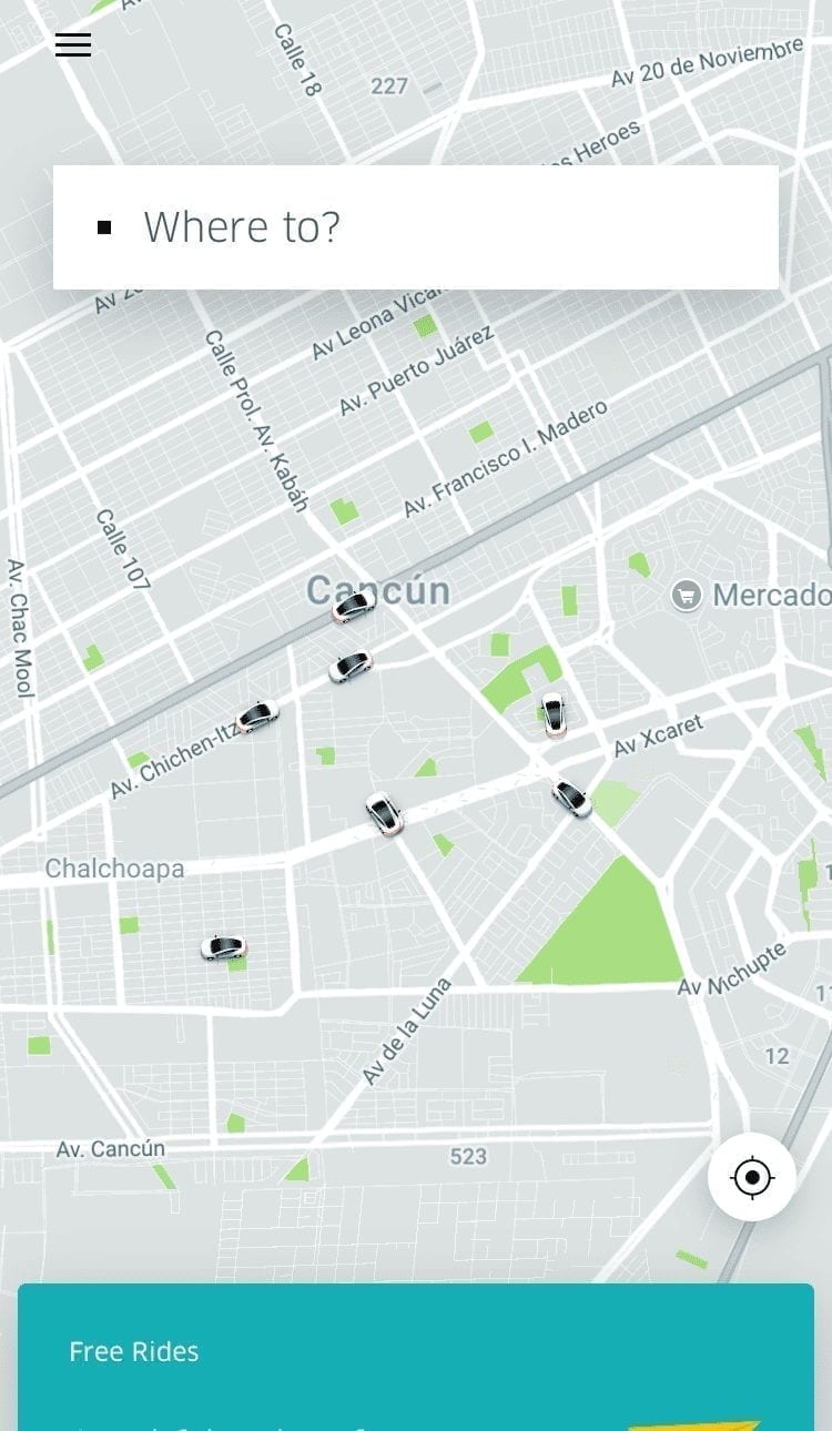 Mapa de Uber en Cancún