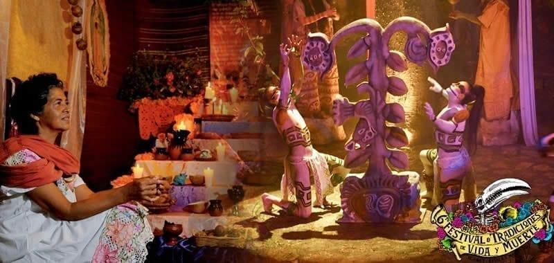 Altar tradicional del Día de Muertos junto a un ritual a la muerte - Foto cortesía del Festival de Vida y Muerte de Xcaret